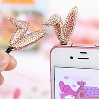 Min.order is $10(Mix order) Free shipping New Phone accessories Earphone jack plug Rhinestone Bling 3.5mm Dust Plug For phone