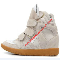 Drop Shipping,Isabel Marant Leather,Color-Full Gray,Size EU35~42,Breathable Velcro Sneakers,Height Increasing 7cm,Free Shipping