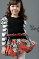 5pcs Children's autumn outfit baby long-sleeved floral skirt,girl's one piece striped dresses with flower pattern,casual wear