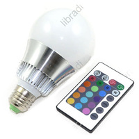 1pcs E27 10w RGB Big Ball LED Bulb Lamp + 24 Key 16 Color Remote Control 110V ~ 220V Memory Function
