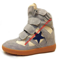 Drop Shipping,Isabel Marant Leather,Light Blue Pentagram,Size 35~42,Breathable Sneakers,Height Increasing 7cm,Free Shipping
