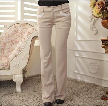 2013 autumn beige tight Slim was thin insert lace low-waist speaker trousers beige S - XL