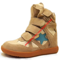 Drop Shipping,Isabel Marant Leather,Gray Pentagram,Size 35~42,Breathable Velcro Sneakers,Height Increasing 7cm,Free Shipping