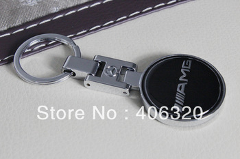 Free shipping, Mercedes Benz AMG Metal Key ring KeyChain Gift Box Logo (Suitable for all model) double-sided stereo