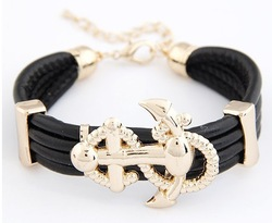 wholesale cheap fashion high quality leather 18k gold anchor korean personality Leather Bracelet free ship $15 mini mixed order(China (Mainland))
