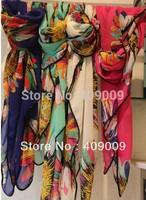 hot sale!2013 newest big flower square scarf/fashion lady style feather beach shawls100*140cm