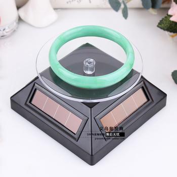 Dual purpose solar swivel plate accessories watch cosmetics mobile phone camera rotating display rack showcase