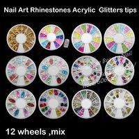 New Nail Art Rhinestones Glitters Acrylic Tips Decoration Manicure Wheel  wholesale 12pcs/lot free shipping