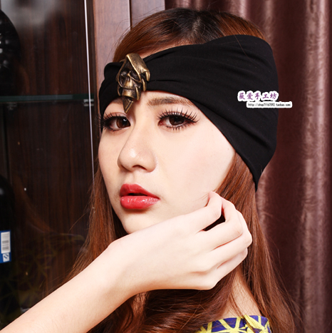 Paragraph cool skull wide ribbon hair band black head scollops headband bandanas fashion vintage(China (Mainland))