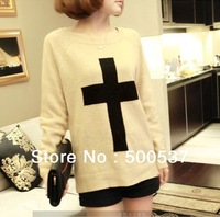 Free Shipping Fashion White Cross Printed Sweater Women Pullovers Knitwear Geometry Sweaters  2 Colors