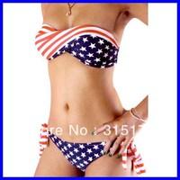 Free shipping Star Stripe Bikini Swimsuit Women Sexy Swimwear Wholesale 10pcs/lot 2013 Swimsuit For Women 40483