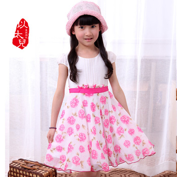 2013 100% cotton child children's clothing one-piece dress child princess dress female