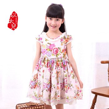 2013 100% cotton child one-piece dress flower chinese style children's clothing female child
