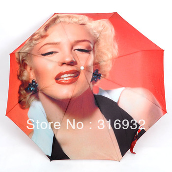 2014 Novelty Marilyn Monroe printed automatic sun protection folding umbrella, Free shipping