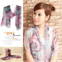 Classical beauty aesthetic chiffon long silk scarf cape gift box set