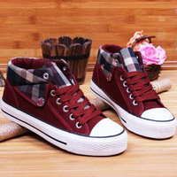 Hot-selling 2013 spring guoan women's high plaid canvas shoes female casual shoes