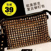 Day clutch female 2013 fashion vintage punk rivet one shoulder bag cross-body envelope bag