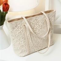 2013 women's handbag small fresh big bag lace flower handbag spring and summer vintage shoulder bag