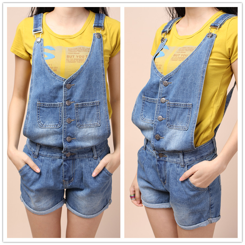 Saturday bib pants loose denim shorts casual suspenders shorts 529(China (Mainland))