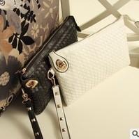 2013 women's handbag summer envelope bag vintage 2way knitted rivet day clutch messenger bag