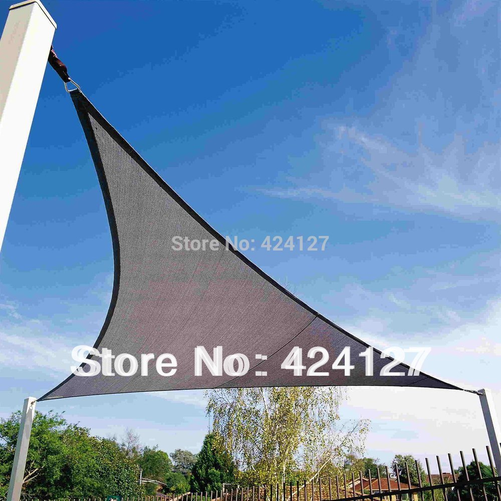 5mx5mx5m triangle shape sun shade net for having rest in the garden beige color(China (Mainland))