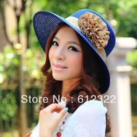 wholesale,2013 fashion summer flower hats, women sun cap, straw hat, multicolor, free shipping