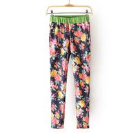 Free Shipping 2013 women's large print Women s92 skinny casual pants