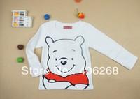 free shipping 2013 new best quality children wear cotton white cartoon Long-sleeved shirt Children's t-shirts
