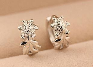 Free shipping bestselling goldfish design 925 sterling silver & platinum plated ladies clip earrings jewellery wholesale