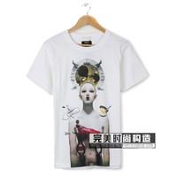 hot sell men women cotton short sleeve t-shirt shirts alien robot print t-shirt shirts o-neck t-shirt tops tank white black