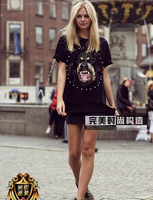Hot  women men giv short sleeve t-shirt rottweiler print t-shirt shirts top quality cotton o-neck tops with charming dia tees