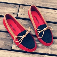 New Fashion Vintage Casual Flatform shoes,Low-heeled Comfortable Mixed-color Bow Gommino loafers Women Shoes free shipping LL013