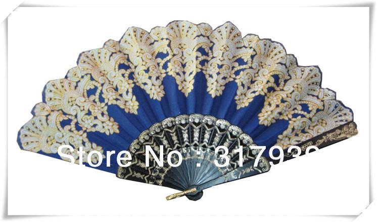 [I AM YOUR FANS]Free Shipping Newest Arrival Luxury Fashion elegant hand fans 80pcs/lot Navy blue silk wedding fan(China (Mainland))
