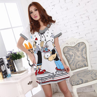 Summer nightgown female cartoon nightgown women's 100% cotton sleepwear short-sleeve lovely sleepwear lounge female