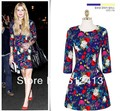 new style lady Euro sleeve printing dress,fashion hot women elegant summer  folds slim dress S,M,L size