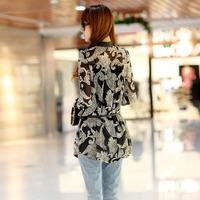 2013 spring and summer fashion vintage decorative pattern long shirt design shirt chiffon long-sleeve loose plus size female