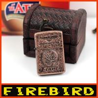 FIREBIRD Leaf Pattern Copper color Windproof  Fint Petrol Lighter oil/hot