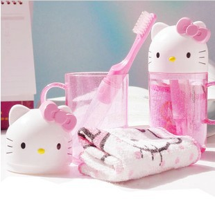 Free Shipping Cartoon Hello Kitty Children's Travel Wash 3-Piece Set Cup+Toothbrush+Towel Toiletries Wash Set Retail KCS