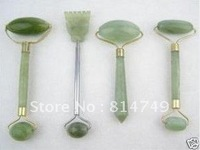 4PC green jade massage head neck face foot roller tool