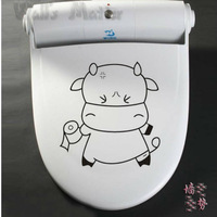 "Freeshipping :cartoon cute  ""ox bull  cow""  Toilet sticker 5pcs/lot"