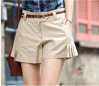 Free shipping 2013 new women summer casual shorts hot cotton solid color boot cut Flare short pants plus size with belt