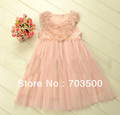 2013 new arrival,  girl high quality rose pearl formal lace dress, princess fairy party dress, free shipping