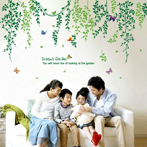 Decorative Sofa TV Backdrops Wall Panel Nursery Green Tree leaves Mural Decal/Decoration Sticker Tree wall Paper Stickers(China (Mainland))