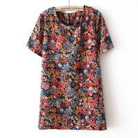 Vintage flower royal slim one-piece dress basic skirt female