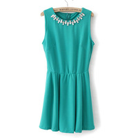 Neckline beading solid color brief sleeveless one-piece dress slim skirt female