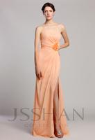 12B044 Women Strapless Sheath Ruched Flower Chiffon Gorgeous Luxury Unique Brilliant Bridesmaids Dress