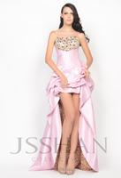 11P034 Strapless Ruched Rhinestoned Asymmetric Taffeta Prom Elegant Gorgeous Luxury Evening Dress Long Evening Dresses