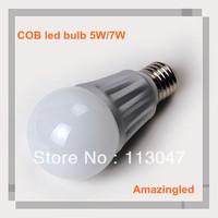 Free Shipping Via DHL! high power led bulb 7w, E27 630lm 7w cob led bulb, CE & ROHS White & Warm white, 2 years warranty