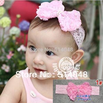 Infant flower headband Babies dark pink lace hairband Toddler Baby girls Felt Flower headbands