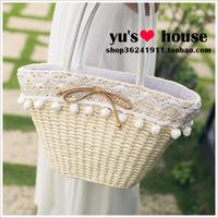 Summer straw bag rattan bag beach bag woven bag women's handbag